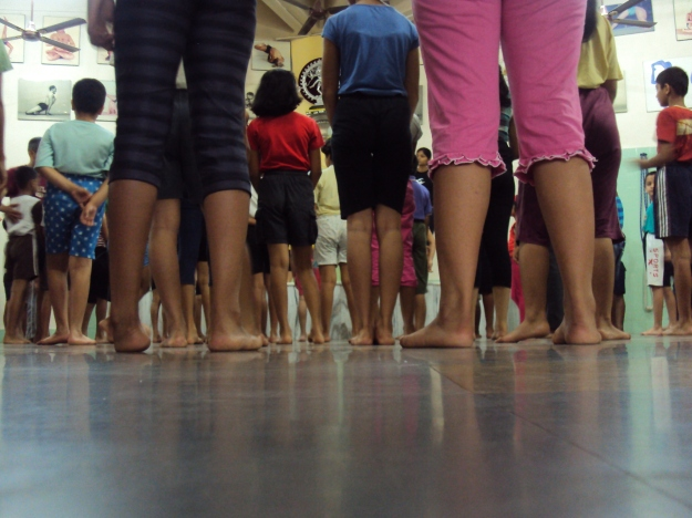 KIds yoga class at RIMYI, Pune, India.