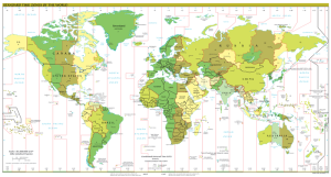 Time Zones of the World, from Wikipedia.