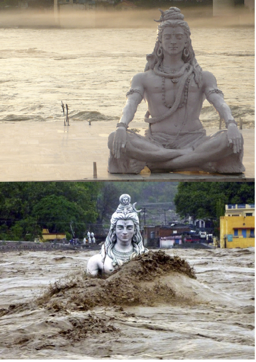 The emblematic Shiva idol was washed away by the Ganges river.